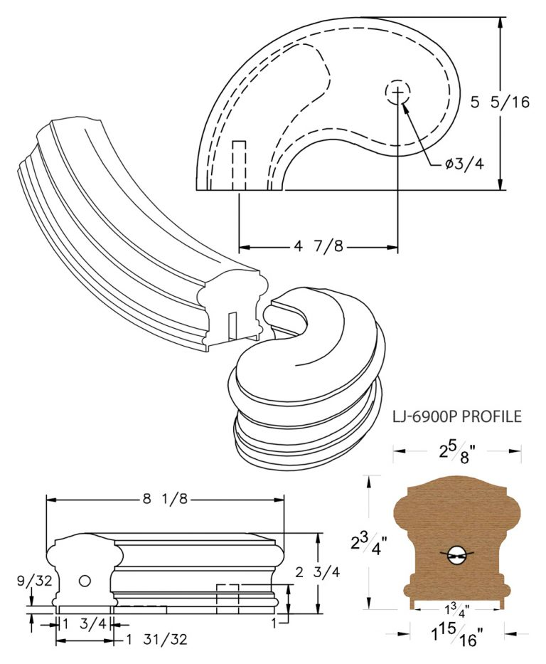"""LJ-7940P: Conect-A-Kit 5"""" Left Hand Turnout for LJ-6900P - 1 3/4"""" Plowed Handrail CAD Drawing"""