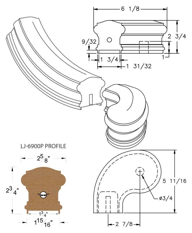 """LJ-7941P: Conect-A-Kit 3"""" Left Hand Turnout for LJ-6900P - 1 3/4"""" Plowed Handrail CAD Drawing"""