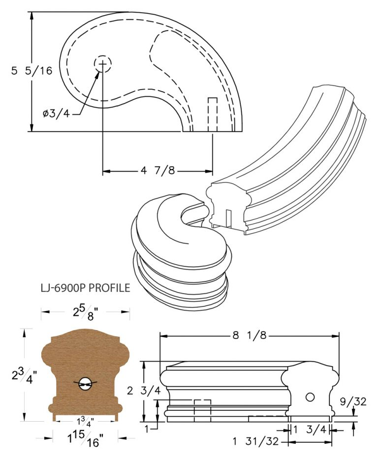 "LJ-7945P: Conect-A-Kit 5"" Right Hand Turnout for LJ-6900P - 1 3/4"" Plowed Handrail CAD Drawing"