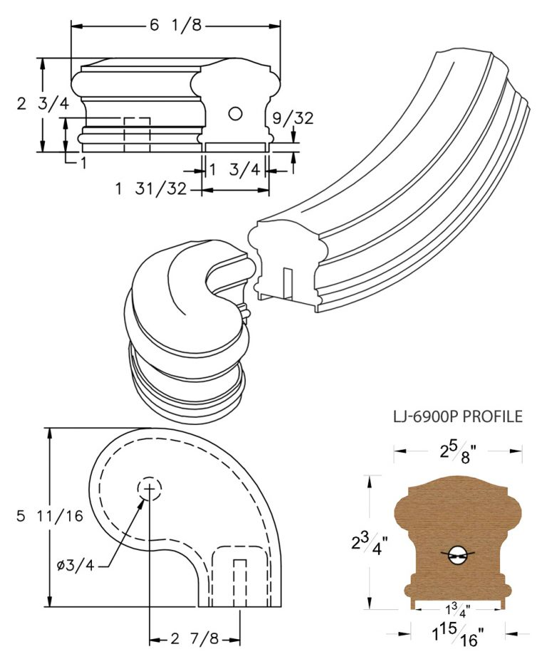 "LJ-7946P: Conect-A-Kit 3"" Right Hand Turnout for LJ-6900P - 1 3/4"" Plowed Handrail CAD Drawing"