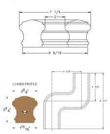 LJ-7947: Conect-A-Kit Left Hand S Fitting / Offset for LJ-6900 Handrail CAD Drawing
