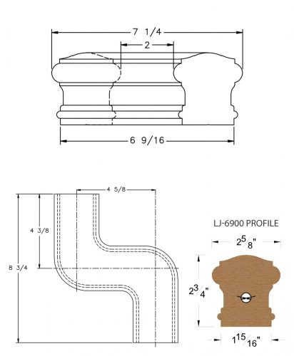 LJ-7948: Conect-A-Kit Right Hand S Fitting / Offset for LJ-6900 Handrail CAD Drawing