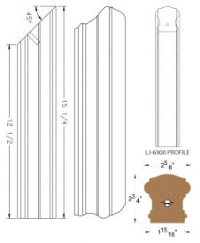 LJ-79RD: Conect-A-Kit Rail Drop for LJ-6900 Handrail CAD Drawing