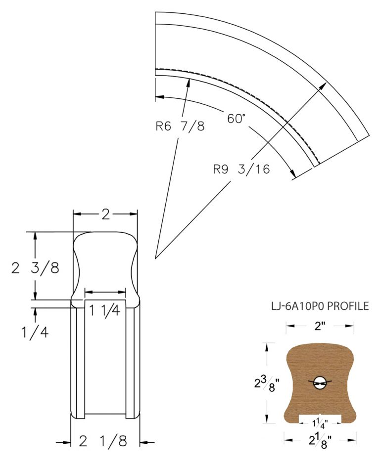 "LJ-7A13P0: Conect-A-Kit 60° Over Easing for LJ-6A10P0 - 1 1/4"" Plowed Handrail CAD Drawing"