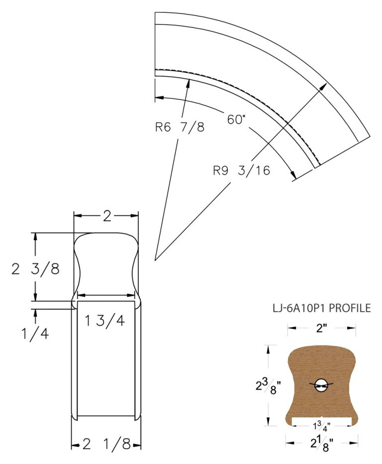 """LJ-7A13P1: Conect-A-Kit 60° Over Easing for LJ-6A10P1 - 1 3/4"""" Plowed Handrail CAD Drawing"""