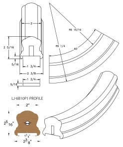 "LJ-7B12P1: Conect-A-Kit 60° Upeasing for LJ-6B10P1 - 1 3/4"" Plowed Handrail CAD Drawing"