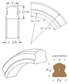 LJ-7B13: Conect-A-Kit 60° Over Easing for LJ-6B10 Handrail CAD Drawing