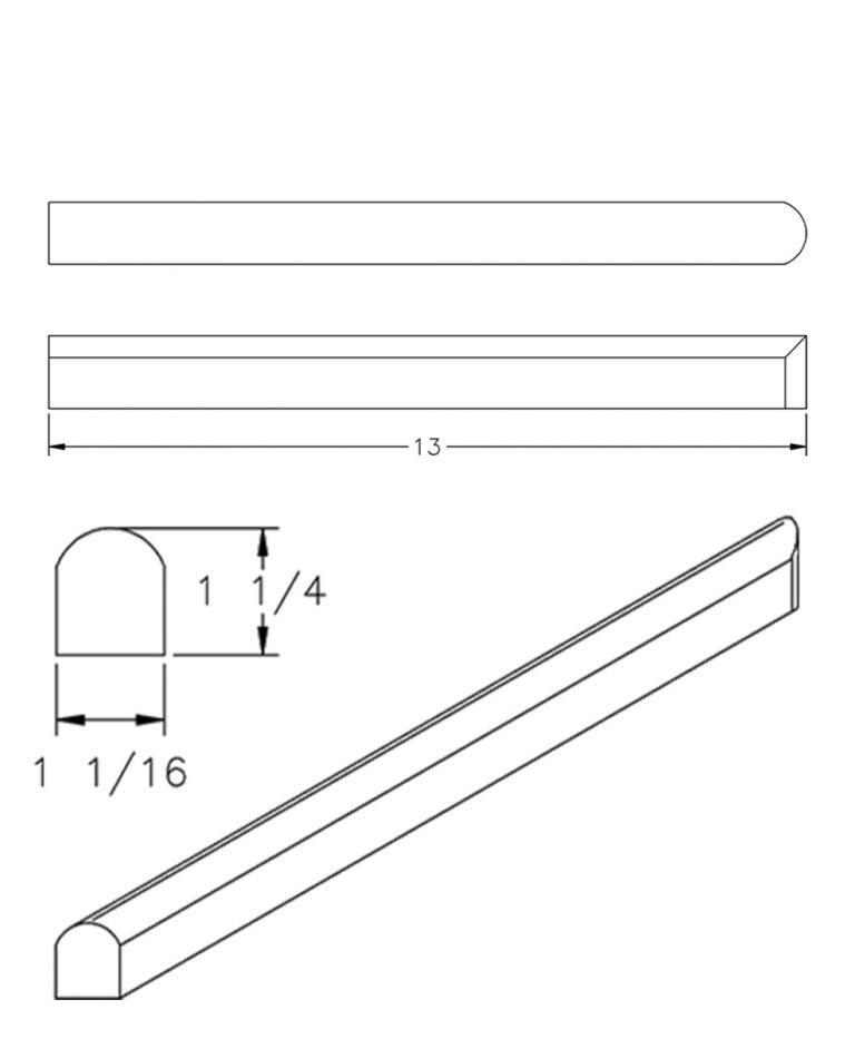 "LJ-8080-13: 13"" Tread Return CAD Drawing"