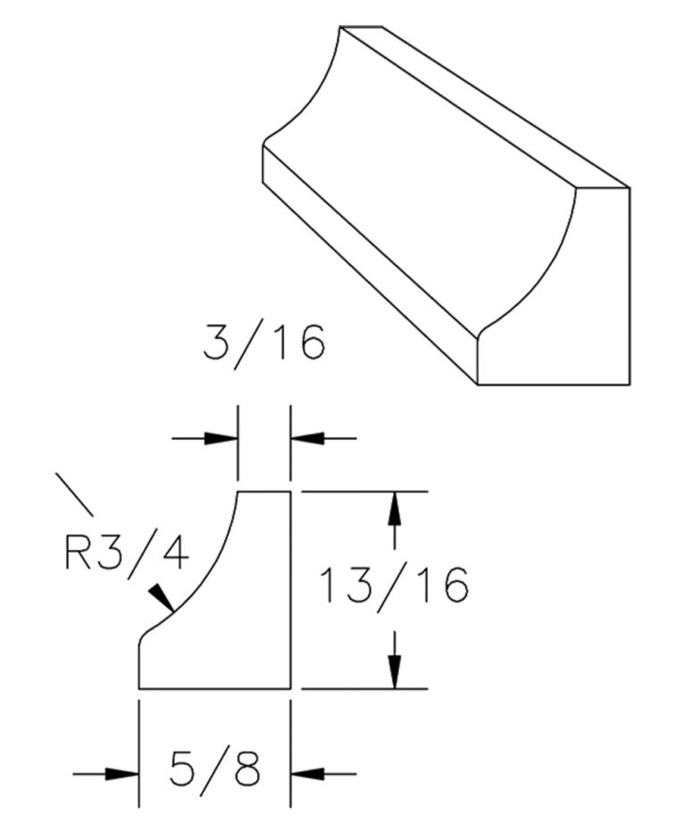 LJ-8095: Cove Moulding CAD Drawing