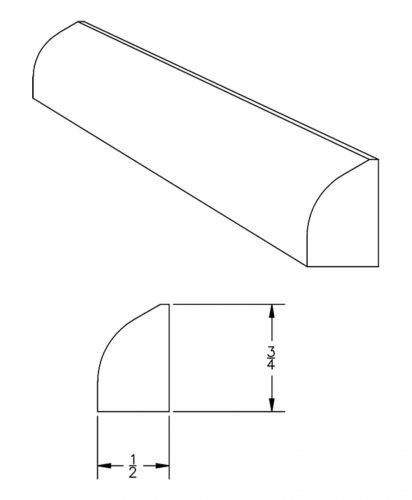LJ-8422: Shoe Moulding CAD Drawing
