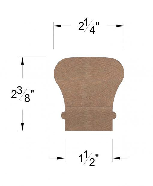 LJ-6010SC: Solid Cap Handrail Dimensions