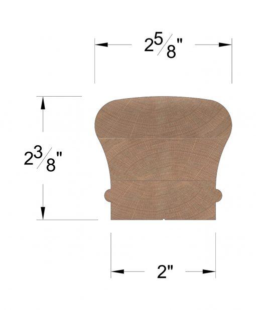 LJ-6210SC: Solid Cap Handrail Dimensions