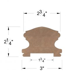 """LJ-6400P: Finger-Jointed 1 3/4"""" Plow Handrail Dimensions"""