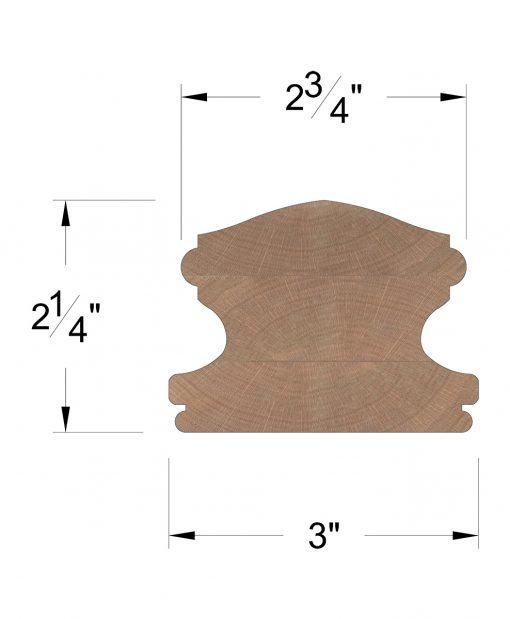 LJ-6400SC: Solid Cap Handrail Dimensions