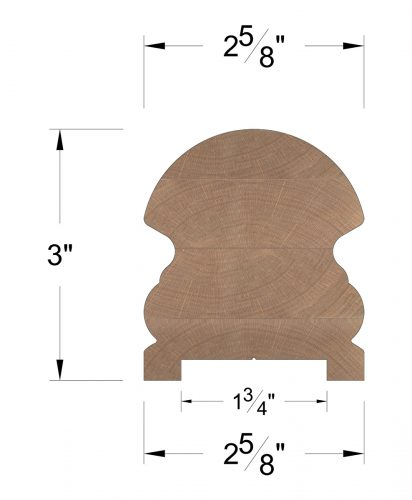 """LJ-6519P: Finger-Jointed 1 3/4"""" Plow Handrail Dimensions"""