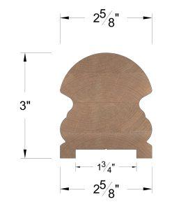 "LJ-6519PSC: Solid Cap 1 3/4"" Plow Handrail Dimensions"