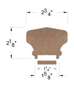 """LJ-6701PSC/6000F: Solid Cap 1 1/4"""" Plowed Handrail and Fillet Dimensions"""