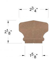 LJ-6701SC: Solid Cap Handrail Dimensions