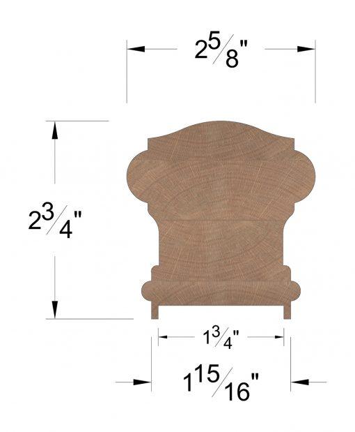 "LJ-6900P: Finger-Jointed 1 3/4"" Plowed Handrail Dimensions"