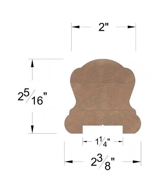 "LJ-6B10P0: Finger-Jointed 1 1/4"" Plow  Handrail Dimensions"