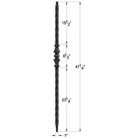 """HF1.1.10: Tuscan 1"""" Hand Hammered Solid Square Iron Tapered Knuckle Newel Dimensions"""