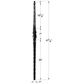"""HF1.1.11: Tuscan 1"""" Hand Hammered Solid Square Iron Tapered Knuckle Newel Dimensions"""