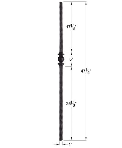 """HF1.1.15: 1"""" Hand Hammered Solid Square Iron Knuckle Newel Dimensions"""