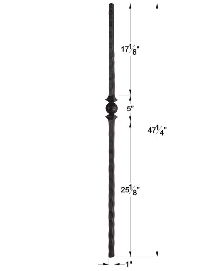 """HF1.1.15-T: Tuscan 1"""" Hand Hammered Hollow Square Iron Knuckle Newel Dimensions"""