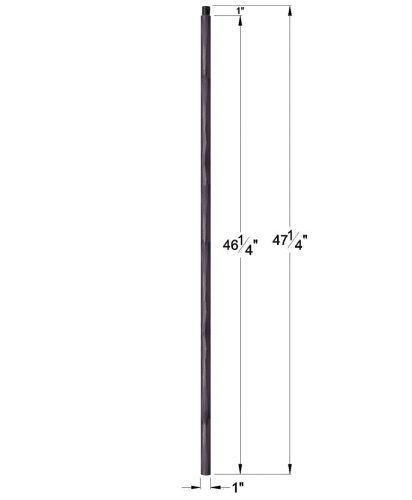 """HF1.1.22: 1"""" Hand Forged Solid Round Iron Newel Dimensions"""