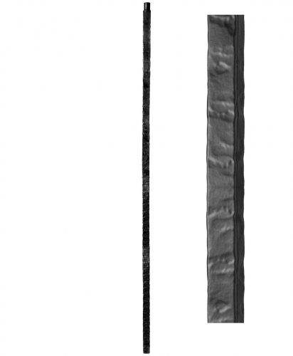 """HF1.1.23: Wentworth 1"""" Rustic Hammered Solid Square Iron Newel"""