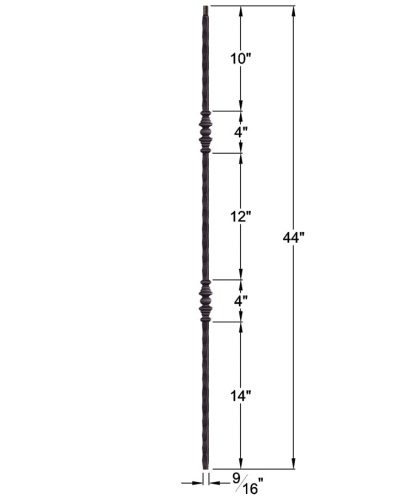 "HF2.1.1: Tuscan 9⁄16"" Hand Hammered Solid Square Iron Double Knuckle Baluster Dimensions"