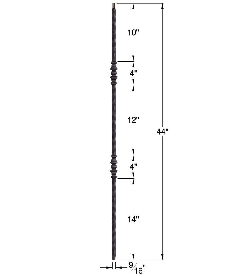"""HF2.1.1: Tuscan 9⁄16"""" Hand Hammered Solid Square Iron Double Knuckle Baluster Dimensions"""
