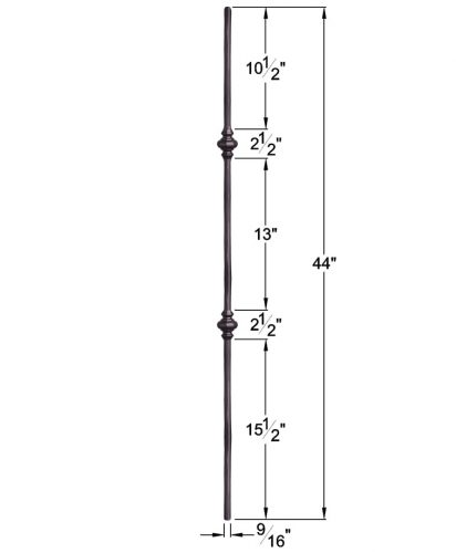 """HF2.1.11: Tuscan 9⁄16"""" Hand Forged Solid Round Iron Double Knuckle Baluster Dimensions"""