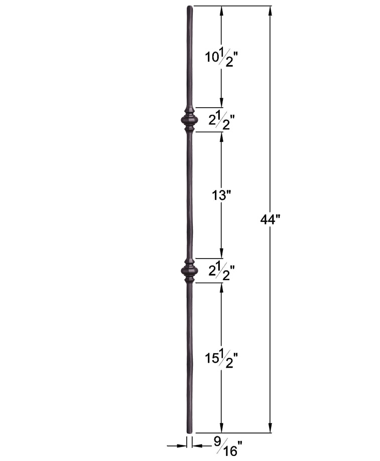 "HF2.1.11: Tuscan 9⁄16"" Hand Forged Solid Round Iron Double Knuckle Baluster Dimensions"