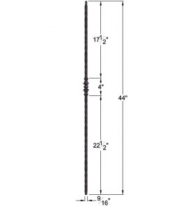 "HF2.1.2: Tuscan 9⁄16"" Hand Hammered Solid Square Iron Knuckle Baluster Dimensions"