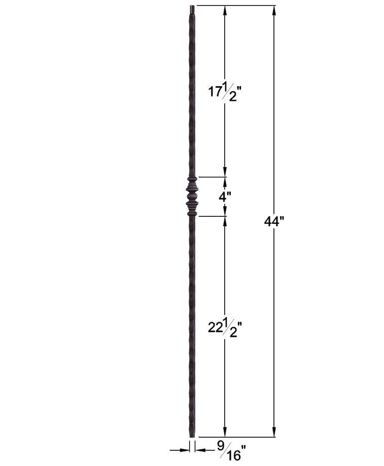 """HF2.1.2: Tuscan 9⁄16"""" Hand Hammered Solid Square Iron Knuckle Baluster Dimensions"""