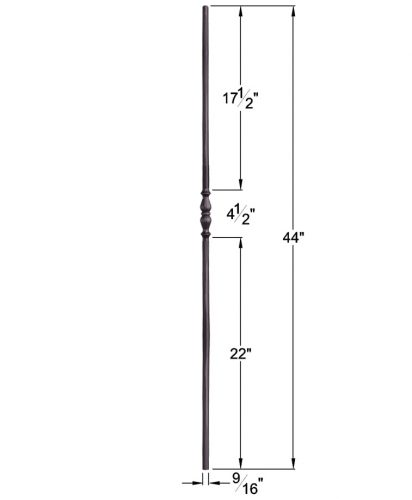 """HF2.1.5: Tuscan 9⁄16"""" Hand Forged Solid Round Iron Knuckle Baluster Dimensions"""
