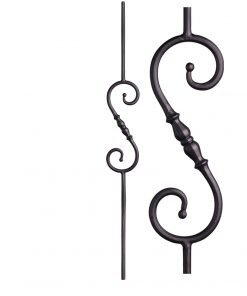 "HF2.1.6: Tuscan 9⁄16"" Hand Forged Solid Round Iron Knuckle Scroll Baluster"