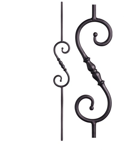 """HF2.1.6: Tuscan 9⁄16"""" Hand Forged Solid Round Iron Knuckle Scroll Baluster"""