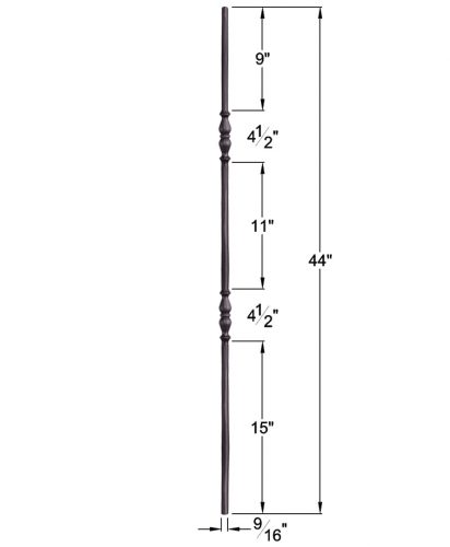 """HF2.1.7: Tuscan 9⁄16"""" Hand Forged Solid Round Iron Double Knuckle Baluster Dimensions"""