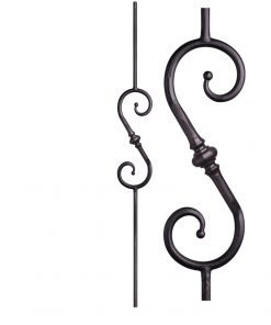 "HF2.1.8: Tuscan 9⁄16"" Hand Forged Solid Round Iron Knuckle Scroll Baluster"
