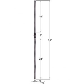 "HF2.10.2: Tuscan 9⁄16"" Hand Forged Solid Round Iron Knuckle Baluster Dimensions"