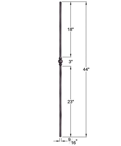 """HF2.10.2: Tuscan 9⁄16"""" Hand Forged Solid Round Iron Knuckle Baluster Dimensions"""