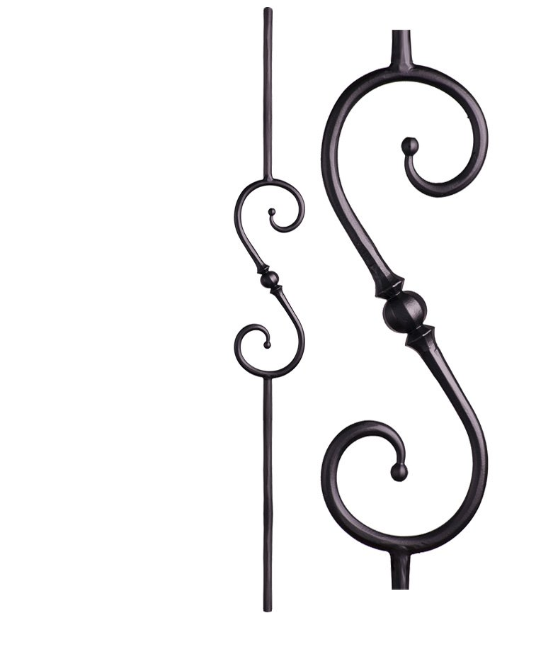 """HF2.10.4: Tuscan 9⁄16"""" Hand Forged Solid Round Iron Knuckle Scroll Baluster"""