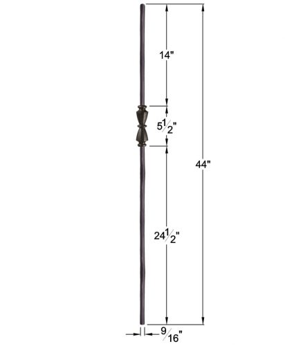 """HF2.11.40: Tuscan 9⁄16"""" Hand Forged Solid Round Iron Knuckle Baluster Dimensions"""