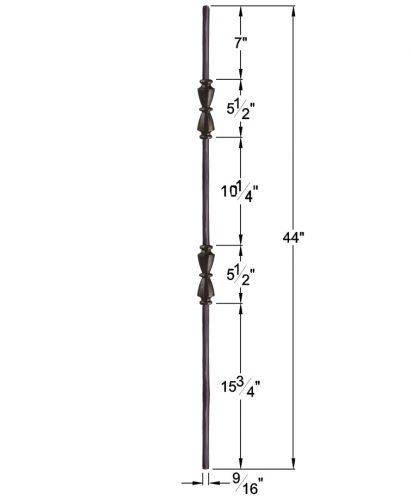 """HF2.11.41: Tuscan 9⁄16"""" Hand Forged Solid Round Iron Double Knuckle Baluster Dimensions"""