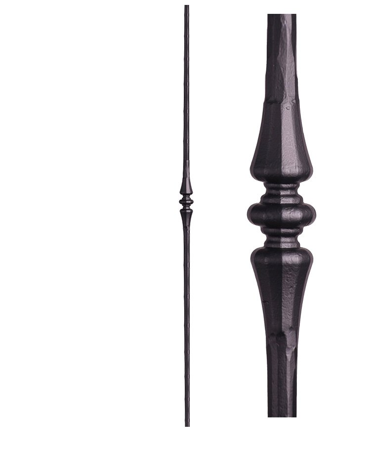 "HF2.6.7: Tuscan 9⁄16"" Hand Forged Solid Round Iron Tapered Knuckle Baluster"