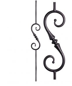 "HF2.6.9: Tuscan 9⁄16"" Hand Forged Solid Round Iron Knuckle Scroll Baluster"
