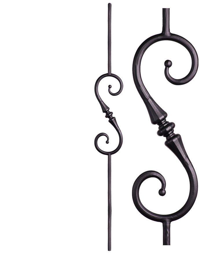 """HF2.6.9: Tuscan 9⁄16"""" Hand Forged Solid Round Iron Knuckle Scroll Baluster"""