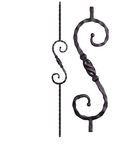 "HF2.9.11: Tuscan 9⁄16"" Hand Hammered Solid Square Iron Tapered Knuckle Scroll Baluster"